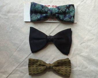 3 Vintage Clip On Bowties 1950's Black Turquoise Gold Yellow bowtie