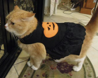 Pet clothing for cats and small dogs: Black and orange cotton dress (Halloween)