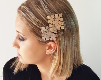 Aether bridal rose gold leather flower comb headpiece
