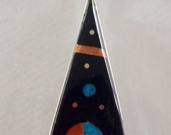 Native American Zuni Jet Turquoise Coral MOP Sterling Cosmic Inlay Pendant With Sunface Signed H Smith