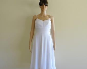 White Dress. Chiffon Dress. Bridesmaid Dress