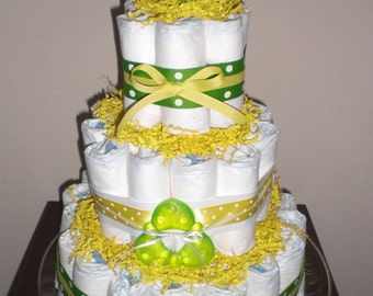 Green and Yellow Duck Diaper Cake  Gender Neutral baby shower centerpiece other colors and sizes too