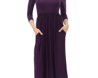 Fit and Flare Midi Dress with Pockets Eggplant Solid
