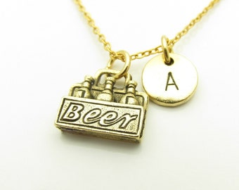 Beer Necklace, Beer Pack Necklace, Personalized, Monogram, Initial Necklace, Beer Bottles Necklace, Antique Gold Beer Charm Necklace Z391