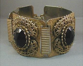 Wide Chunky Black Goldtone Link Bracelet