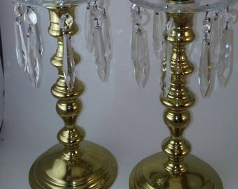 Vintage pair of Gold candle sticks with crystals