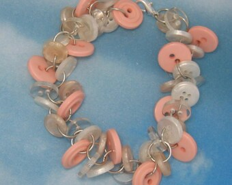 Cotton Candy Chunky Button Bracelet Pinks and Whites
