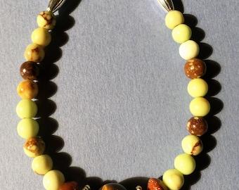 "8""Tigereye and Jasper Beaded Bracelet"