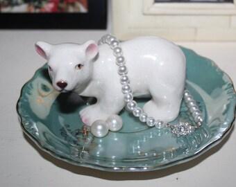 OOAK Vintage Polar Bear on Ice Unique Figurine Ring Dish