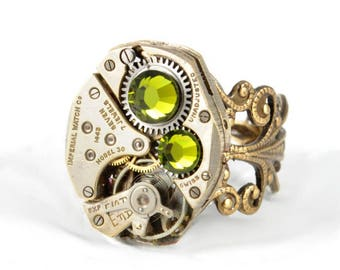 OLIVE GREEN Steampunk Ring Steam Punk Steampunk Watch Ring Antique Brass Ring Vintage Style Victorian Steampunk Jewelry VictorianCuriosities