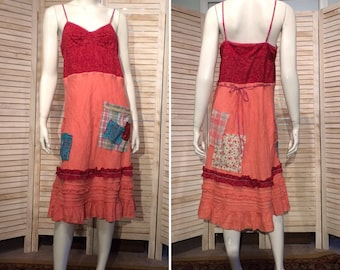 Upcycled Dress Shabby Chic Upcycled Clothing Romantic Patchwork Loose Fit Sundress Linen Indian Block Print Dress S M Primitive DeviDesigns