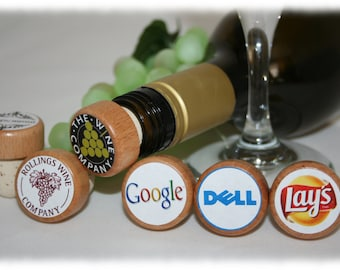 Custom Company Logo on a Wine Stoppers, Party Favor Gifts,Company Gifts, Client Wine Stopper, Advertising Your Company, Promotional Gift