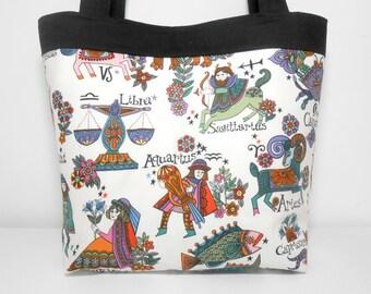Zodiac Large Tote Bag, Zodiac Signs, Libra, Sagitarius, Aquarius, Fabric Tote Bag, Zodiac Symbols