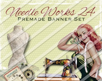 "Shop banner - Shop banner Set - Etsy shop banner set - Graphic banners - Banners - ""Needle Works 24"""