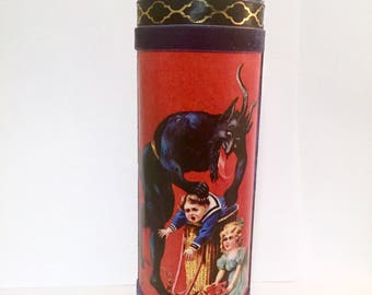 Custom Krampus Christmas prayer candle.