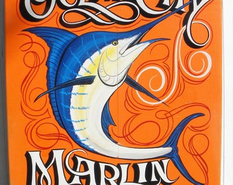 Ocean City Maryland Marlin Club Sign,  Original Hand Painted and lettered, Beach Decor. Makes a great focal point for home decor.  Fishing