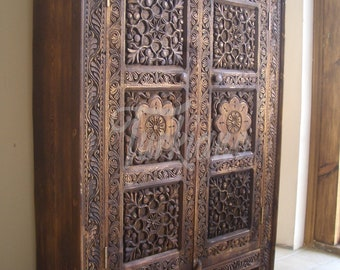 SAHMARAN Cabinet Orient Antique Look Cupboard Dresser Bookcase TV Stand Hand Carved Solid Wood Handcrafted TM0082