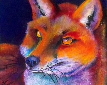 original art acrylic painting 12x12 wall decor bright fox
