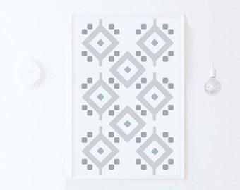 Grey Geometric Art, Grey Wall Art Print, Moroccan Pattern Art DIGITAL DOWNLOAD Art, Geometric Printable Wall Art Grey Home Decor Print 24x36