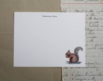 Squirrel Woodland Animal Custom Notecard Stationery. Thank You, Any Occasion, Personalize Watercolor Print, Set of 10.