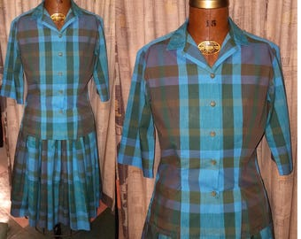 1950's Gingham Twirl 50's Two Piece Cotton A-Line Circle Warm Outing Womens Outfit - S