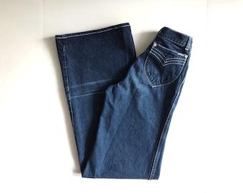 Vintage Women's 70's Lawman, Bell Bottom Jeans, WIde Leg, Denim (XS)
