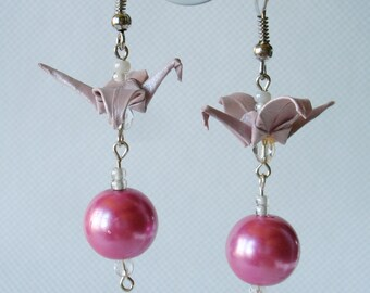 Handmade Origami Earrings with Cranes of Happiness Metallic Paper Pink Glitter
