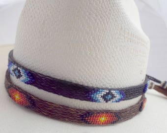Beaded horsehair hat band, Amazing design, BOLD colors,  Western horsehair hat band, cowboy hat band, rodeo hat band, Southwest designs