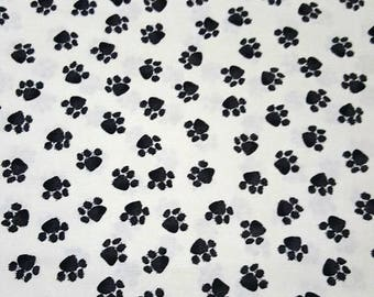 PAW PRINTS On Fabric-Black Paws On White Fabric-Pet Design Fabric