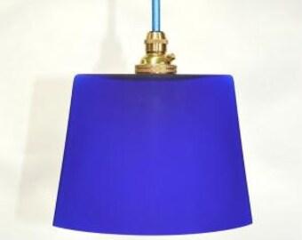 Small vintage handmade Italian blue glass ovoid pendant light hanging lamp G3
