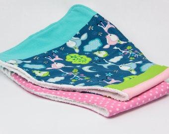 "Large Baby Burp Cloths, Set of 2 Burp Cloth, Flannel and Terry Cloth Burp Cloths, 24""x10"""