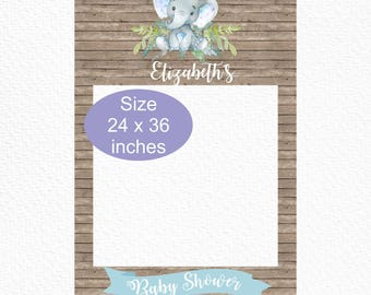 Blue Elephant Baby Shower Photo Booth Frame, Printable 24 x 36 Rustic Elephant Selfie Photo Prop, Printable Photo Frame Elephant Baby Shower