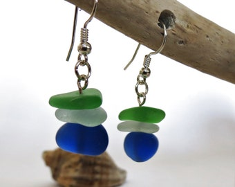 Multicolor Sea Glass Earrings Dangle Earrings Stacked Earrings Sea Glass Jewelry Beach Earrings