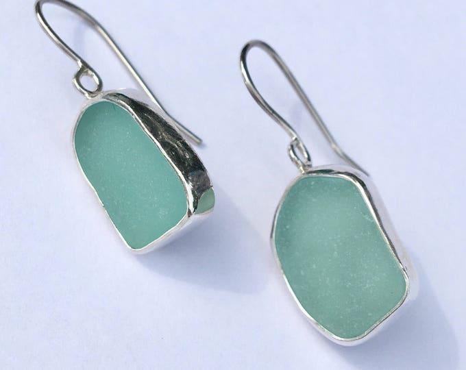 Aqua Genuine Sea Glass Earrings bezel set in sterling silver