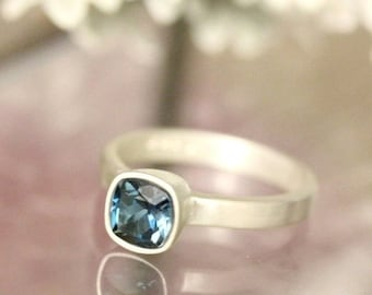 Summer Sale - London Blue Topaz Sterling Silver Ring, Gemstone RIng, Cushion Shape Ring, Eco Friendly, Engagement Ring, Stacking Ring- Custo