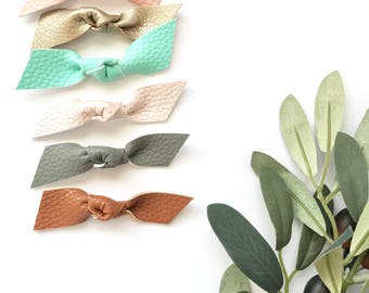 "3"" Faux Leather Knotted Bow Headband // 6 Colors"