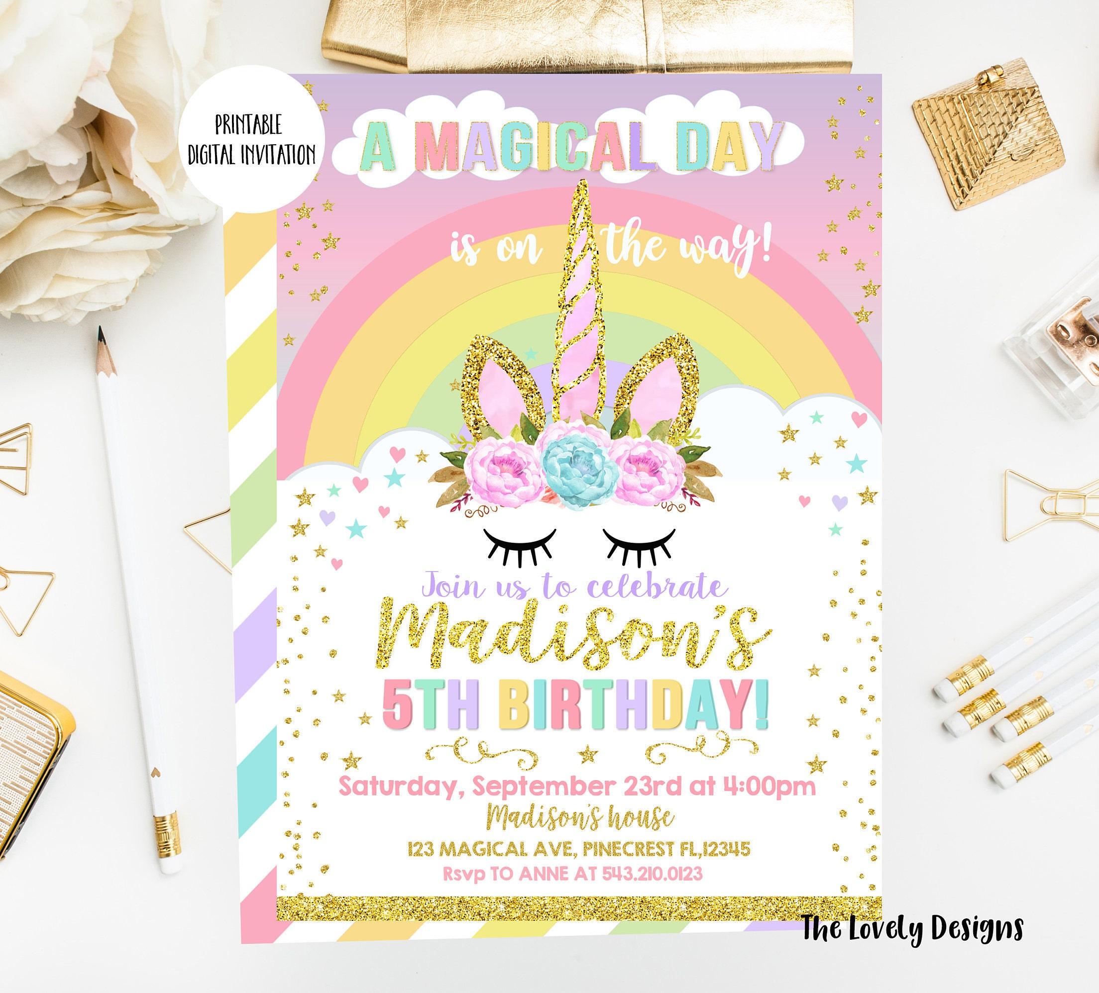 Unicorn Invitation Unicorn Birthday Invite Magical Unicorn