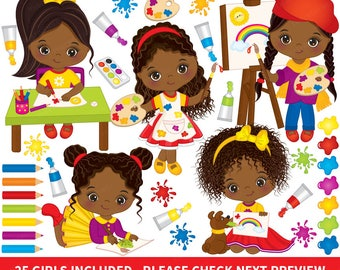Artist Clipart - Vector Artist Clipart, Girl Clipart, African American Clipart, Little Girl Clipart, Painter Clipart, Little Artist Clip Art