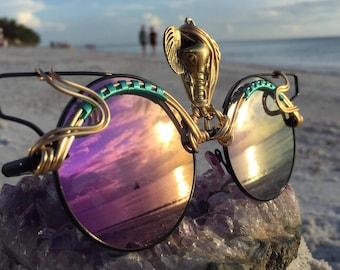 BLACK Cat Eye Sunglasses, Third Eye Elephant, Artisan Eyewear Eyeglasses Sunnies, Festival Burning Man Outfit, One of a Kind, Free Shipping