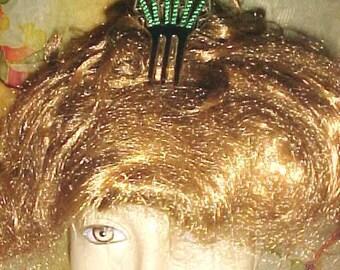 Vintage EDWARDIAN Hair Comb Green Rhinestones Lattice Celluloid Cut Curve Style So elegant Wear Today