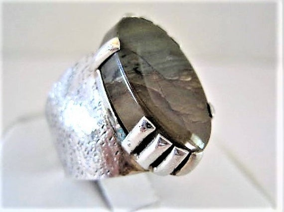 Sterling Agate Ring, Wide Band, Genuine Stone, Large Prongs, Size 10