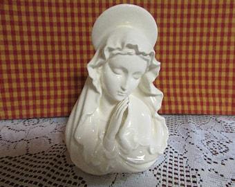 Madonna Planter Ceramic VINTAGE Vase in white ceramic Madonna planter