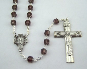 Purple Miraculous Medal Rosary with Cathedral Beads (87)