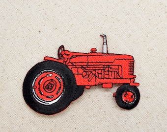 Red Farm Tractor - Embroidered Patch - Iron on Applique - 695689