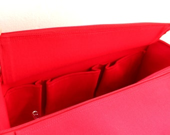 Purse organizer for Celine Medium Phantom Luggage tote with Zipper closure- Bag organizer insert in Red