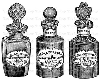 Perfume Bottle Clip Art Vintage La Dore Printable Illustration Iron On Transfer Digital Download PNG JPG Image