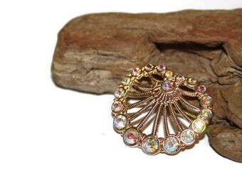 AB Rhinestone Brooch, Vintage Brooch, Vintage Pin, Vintage Rhinestone Jewelry, Rainbow Brooch, Aurora Borealis, Iridescent Jewelry