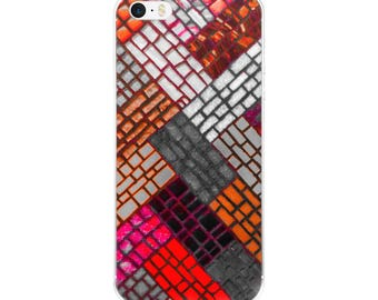Abstract red mosaic pattern phone case fits iPhone