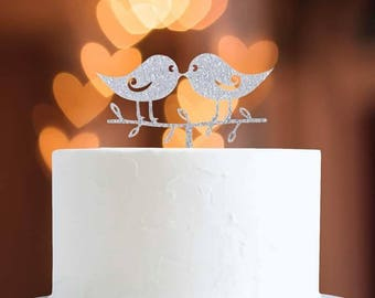 Wedding cake topper two cute love birds silver decoration