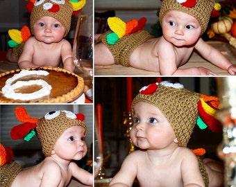 Crochet turkey baby set. Turkey baby outfit. turkey baby costume